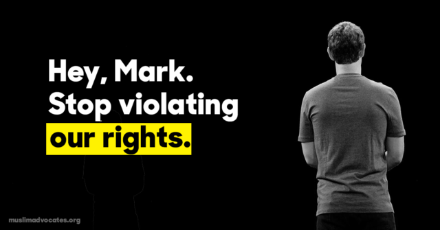 "graphic that says, ""Hey, Mark. Stop violating our rights."""