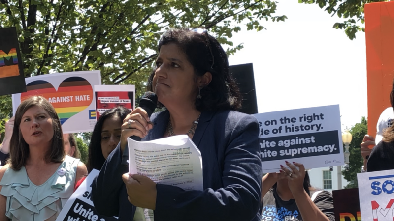 Farhana Khera of Muslim Advocates addresses the White House Rally to Stop White Nationalism on 8/6/2019 in the aftermath of the El Paso shooting.