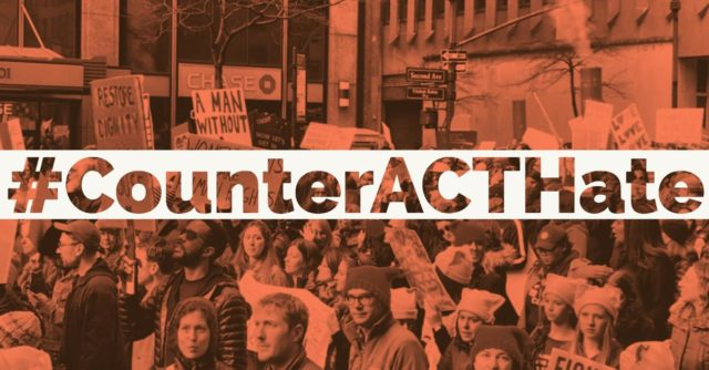 Graphic that says #CounterACTHate