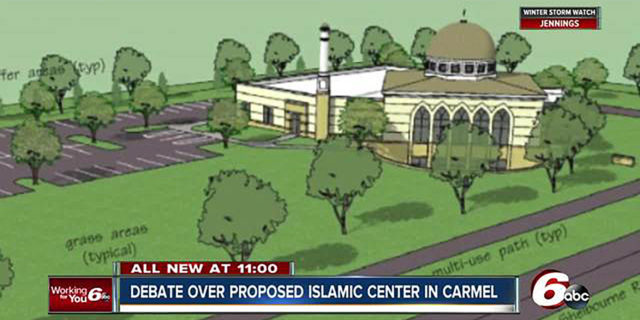 "Screenshot of newscast that says ""Debate over proposed Islamic Center in Carmel"""